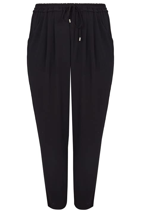 Date Post Jenny Template Responsive by Black Crepe Trousers With Drawstring Waist Plus Size 16 To 36