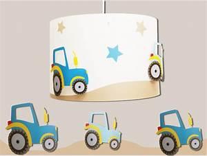 Lampe Chambre Garçon : teuf teuf applique garcon bleu et taupe avec des tracteurs ~ Teatrodelosmanantiales.com Idées de Décoration