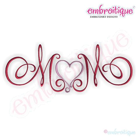 embroitique mom  heart calligraphy script embroidery design large