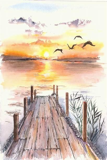 Landscape Watercolor Paintings Famous Sunset Artists Sunsets