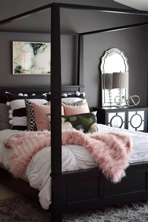 pink black  white accent  queen size black canopy
