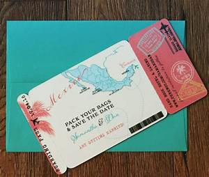 Boarding pass magnet save the date mexico map for Destination wedding invitations magnets