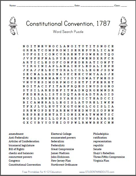 Constitution Word Search Puzzle