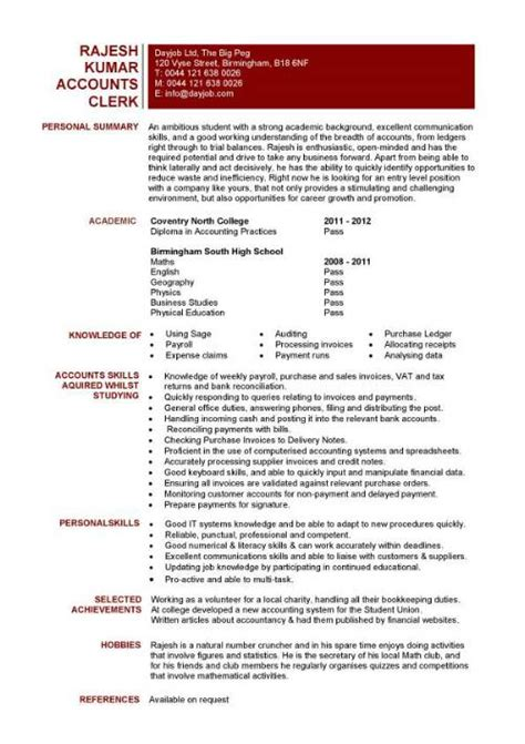 accountant l picture accounting clerk resume sles