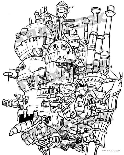 Digital Howls Moving Castle Printable Coloring Sheet