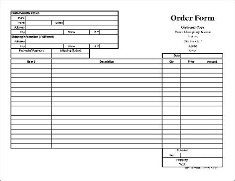 18366 duplicate order form free easy copy basic order form with duplicate wide from