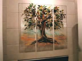 tuscan kitchen backsplash tree of mural in fused glass designer glass mosaics