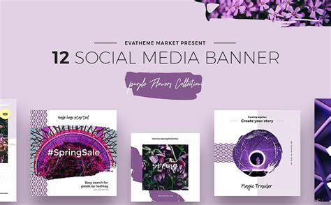 purple flowers social media designs psd template