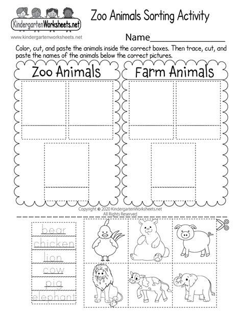 zoo animals sorting activity worksheet  kindergarten