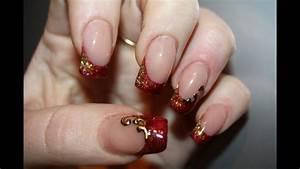 Deco Ongle Noel : pose de no l magnifique rouge d grad de paillette or et ~ Melissatoandfro.com Idées de Décoration