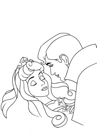 phillip kisses aurora coloring page  printable