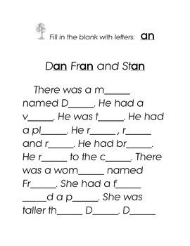 Letters AN Fill in the Blank Kindergarten Story Printable