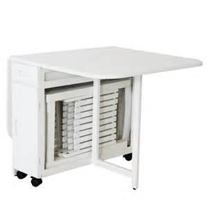 Table Pliante Avec 4 Chaises Intégrées table 4 chaises pliantes gain de place blanc table