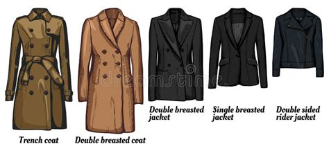 Womens Jackets Types Set Stock Vector. Illustration Of