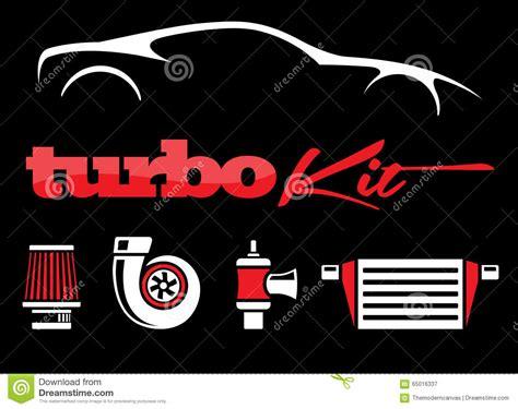 Vehicle Turbo Kit Performance Car Parts Icons Set On Black