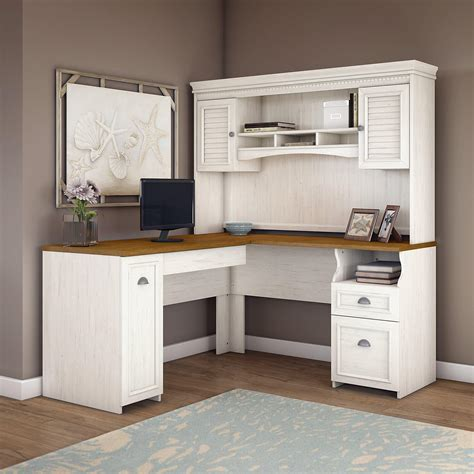 white desk with hutch bush furniture fairview l shaped desk with