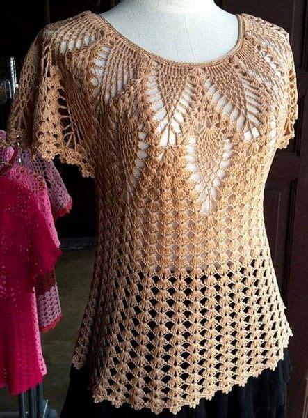 blusa calada  motivo pina  crochet vestidos de