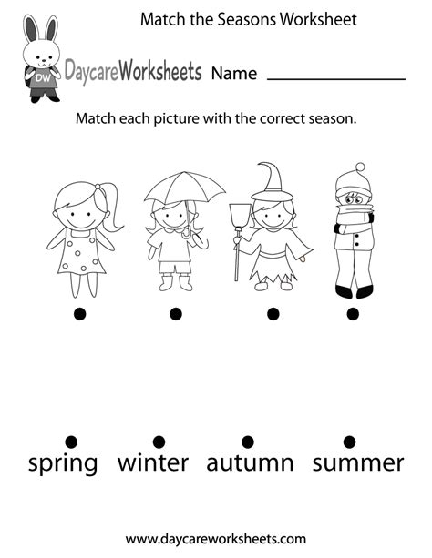 preschool match  seasons worksheet