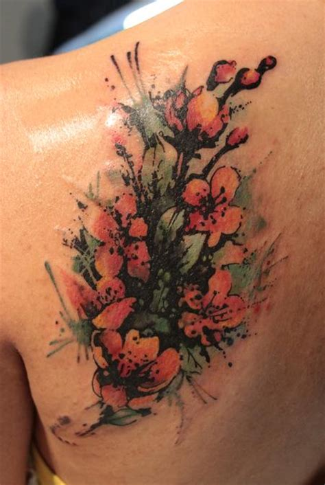 big flower cover  tattoos