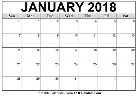Calendar Template Printable 2018 Calendar 123calendars