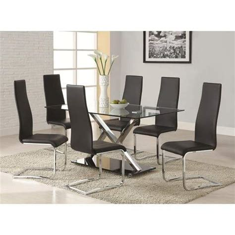 modern dining  piece xy table black upholstered chairs
