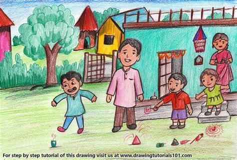 diwali scene color pencil drawing  images diwali