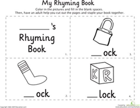 my rhyming book ock worksheet education