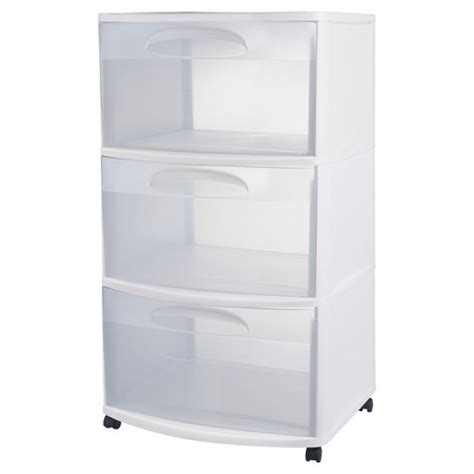 Sterilite 3 Drawer Wide Cart - sterilite three drawer wide cart white with clear drawers