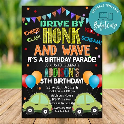 Drive by Birthday Party Invitation Template Instant