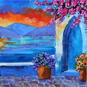 Paintings Original Oil Landscape Art Greek Islands Famous ...