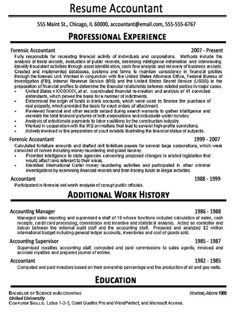 exle of resume for accountant 28 images detroit