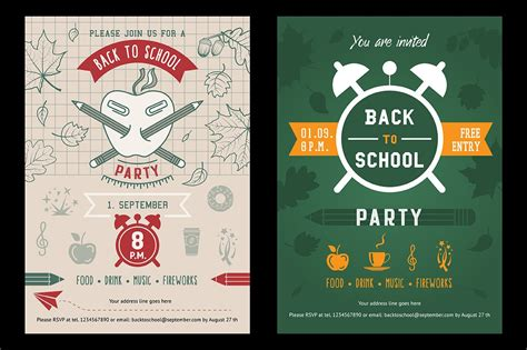 Back to school party invitation card ~ Illustrations