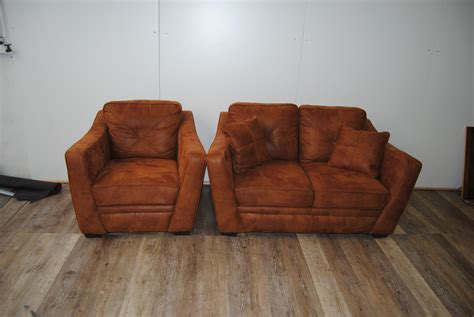 route  furniture brown orange leather loveseat  chair