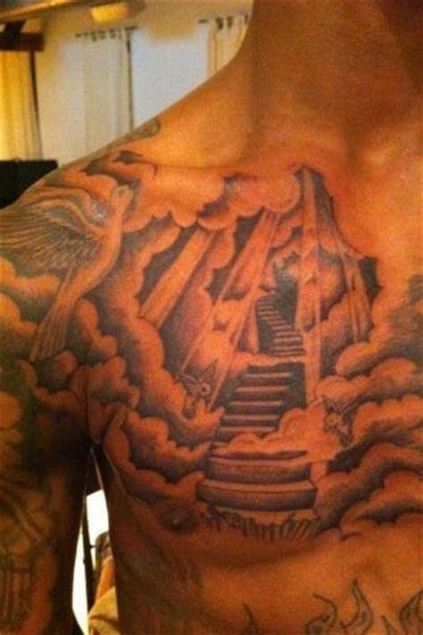 mens chest tattoo stairway  heaven chest tattoos