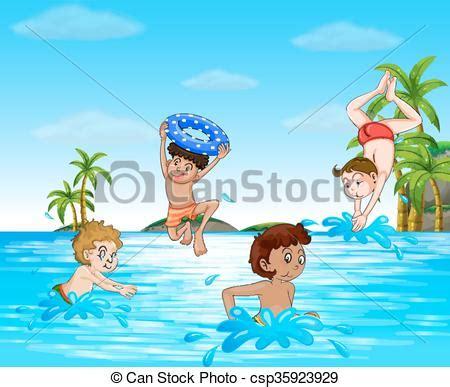 clipart nuoto ragazzi nuoto mare tuffo ragazzi nuoto mare