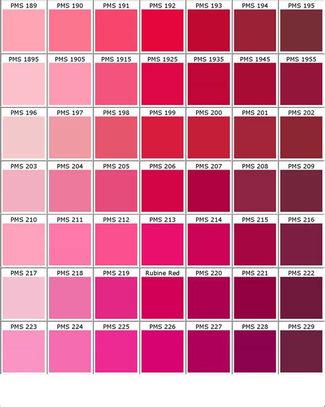 ral design fã cher pantone shades of pink color chart home ideas