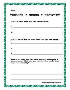 earth day worksheet reduce reuse recycle science