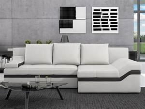 Canapé D Angle Convertible Blanc : canap d 39 angle convertible en simili azola noir ou blanc ~ Teatrodelosmanantiales.com Idées de Décoration