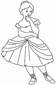 Ballerina Girl is Standing Coloring Pages   Coloring Sky