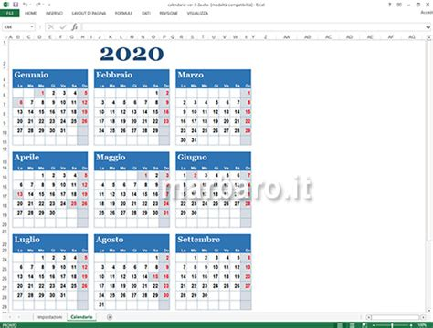 calendario excel le festivita italiane da stampare