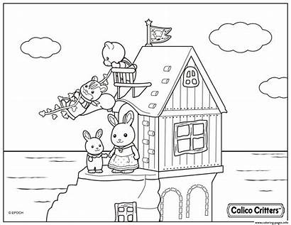 Coloring Calico Critters Pages Beach Printable Cartoon