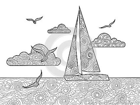 sailboat coloring book  adults vector stock vector image