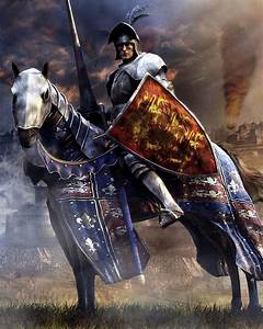 Knight on barded horse, in plate armour, lance and red ...