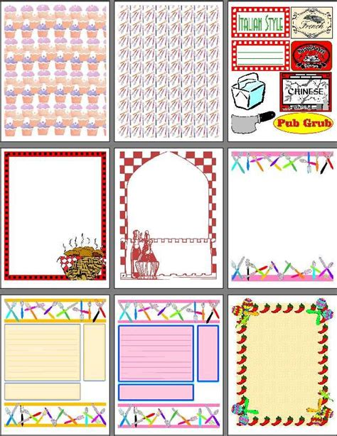 printable scrapbook pages  recipe scrapbooks