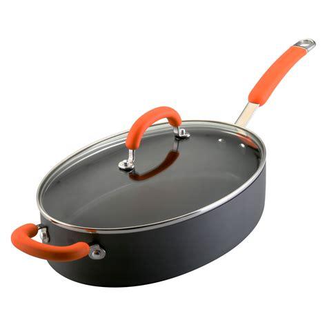 rachael ray oval saute quart anodized hard pan orange handle lid helper glass nonstick pans cookware qt pot rachel pots