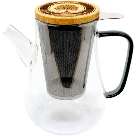 glas teekanne mit sieb teekanne mit siebeinsatz und deckel 1100ml glaskanne mit teesieb