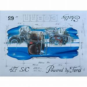 Diagram Of A 65 Shelby Cobra 427 Print By Sebastien Sauvadet