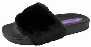 Kids Fur Jewel Sliders Fluffy Mules Slippers Flip Flops ...