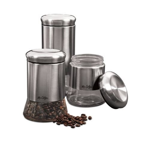 walmart kitchen canister sets mr coffee 3 pc canister set stainless steel walmart