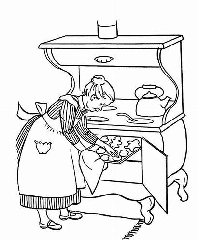 Coloring Cooking Pages Grandmother Cookies Drawing Delicious